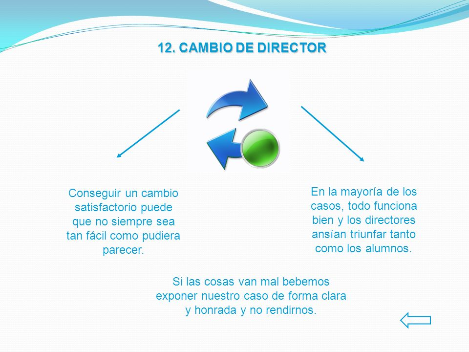 12. CAMBIO DE DIRECTOR Conseguir un cambio satisfactorio puede que no siempre sea tan fácil como pudiera parecer. En la mayoría de los casos, todo fun