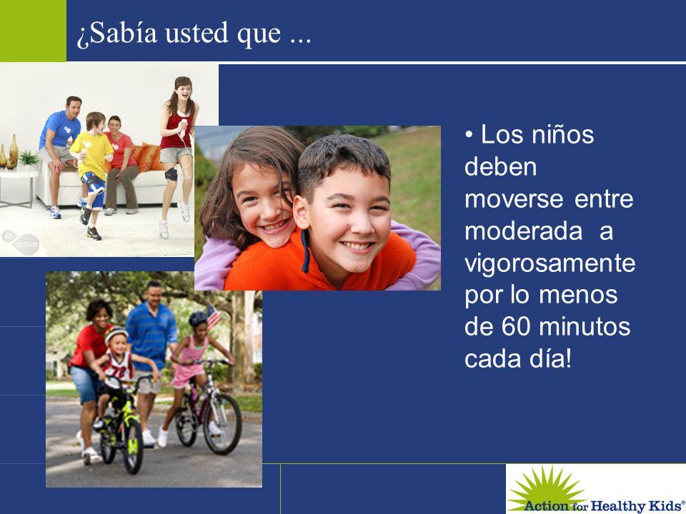 ¿Sabía usted que... Los niños deben moverse entre moderada a vigorosamente por lo menos de 60 minutos cada día!