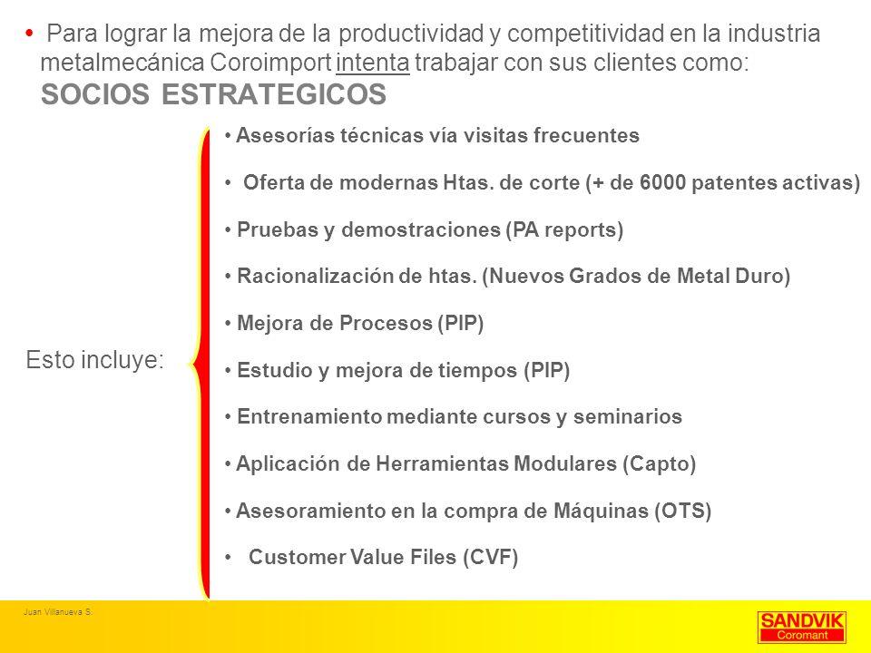Para lograr la mejora de la productividad y competitividad en la industria metalmecánica Coroimport intenta trabajar con sus clientes como: SOCIOS EST