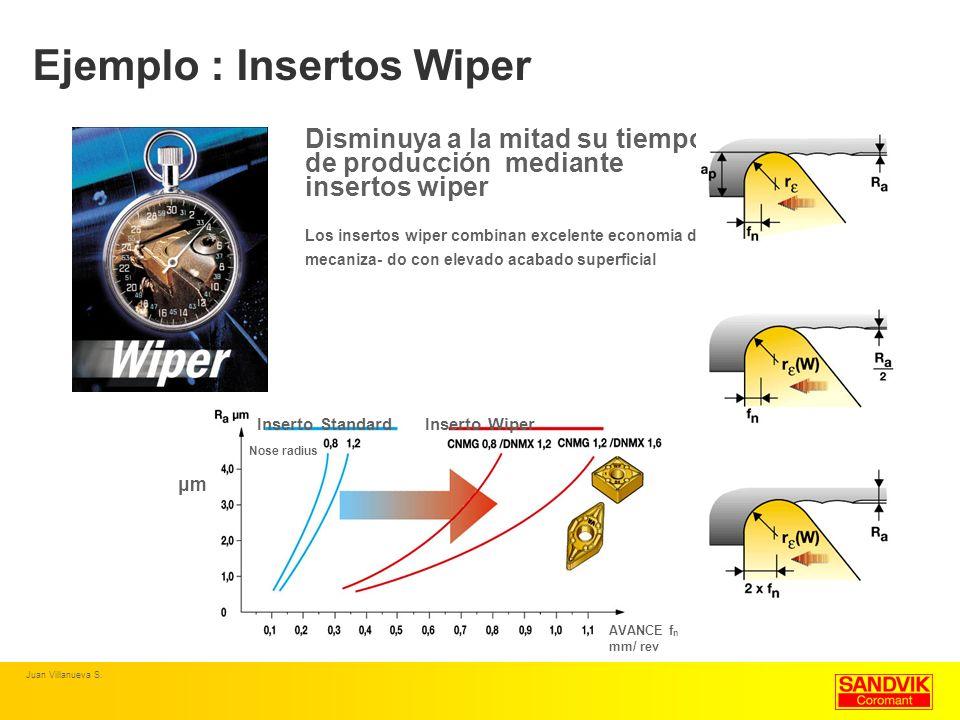 Ejemplo : Insertos Wiper Disminuya a la mitad su tiempo de producción mediante insertos wiper Los insertos wiper combinan excelente economia de mecani