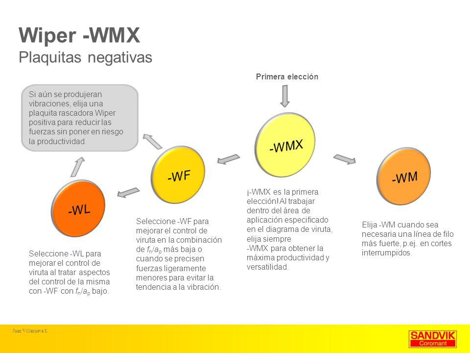 Wiper -WMX Plaquitas negativas ¡-WMX es la primera elección! Al trabajar dentro del área de aplicación especificado en el diagrama de viruta, elija si