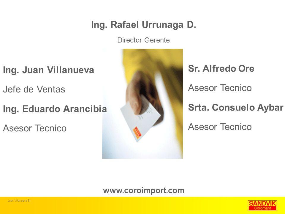 Ing. Rafael Urrunaga D. Director Gerente www.coroimport.com Ing. Juan Villanueva Jefe de Ventas Ing. Eduardo Arancibia Asesor Tecnico Sr. Alfredo Ore