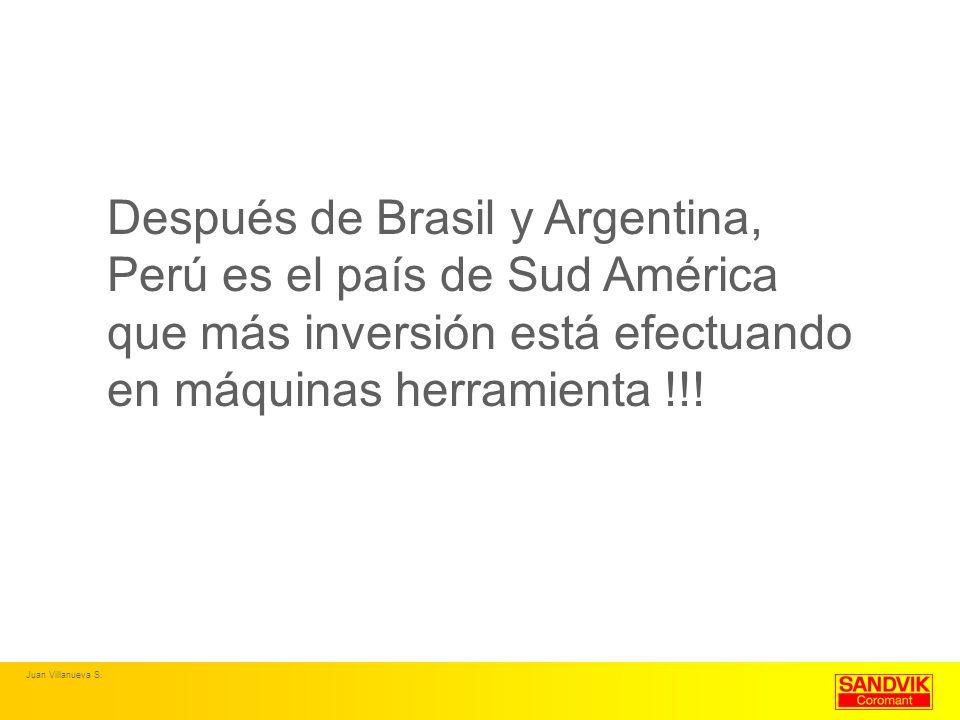 Después de Brasil y Argentina, Perú es el país de Sud América que más inversión está efectuando en máquinas herramienta !!! Juan Villanueva S.