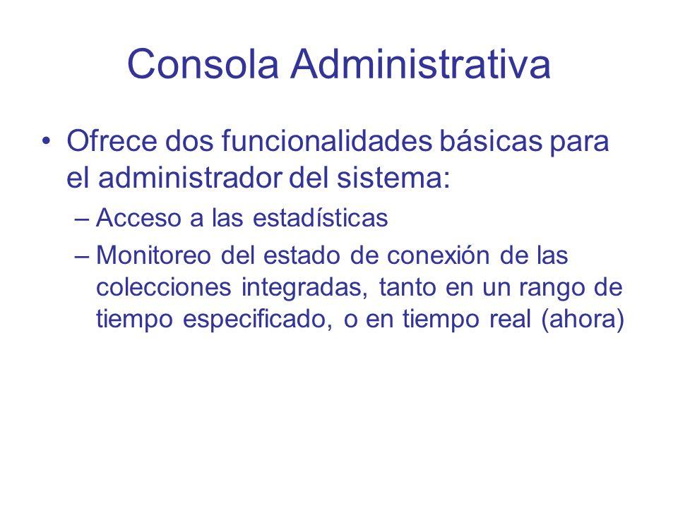 Consola Administrativa Ofrece dos funcionalidades básicas para el administrador del sistema: –Acceso a las estadísticas –Monitoreo del estado de conex