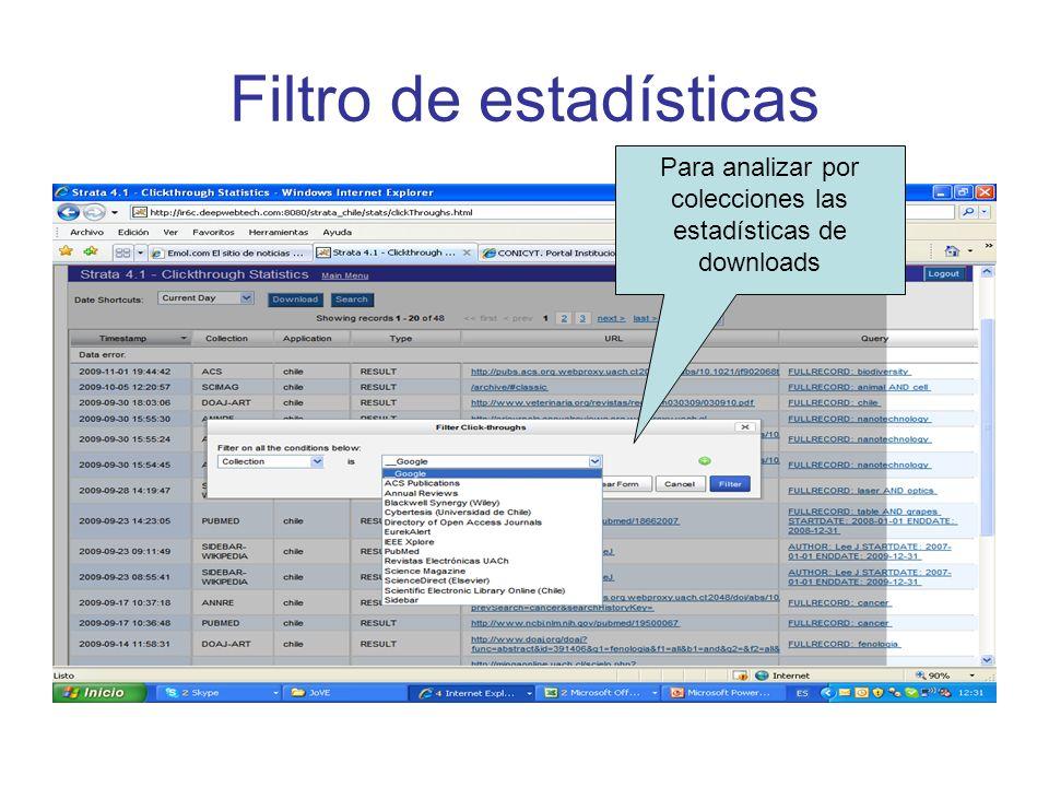 Filtro de estadísticas Para analizar por colecciones las estadísticas de downloads