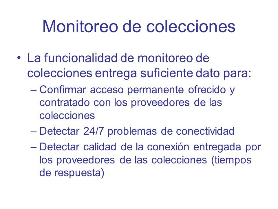 Monitoreo de colecciones La funcionalidad de monitoreo de colecciones entrega suficiente dato para: –Confirmar acceso permanente ofrecido y contratado
