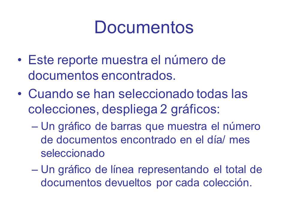 Documentos Este reporte muestra el número de documentos encontrados. Cuando se han seleccionado todas las colecciones, despliega 2 gráficos: –Un gráfi