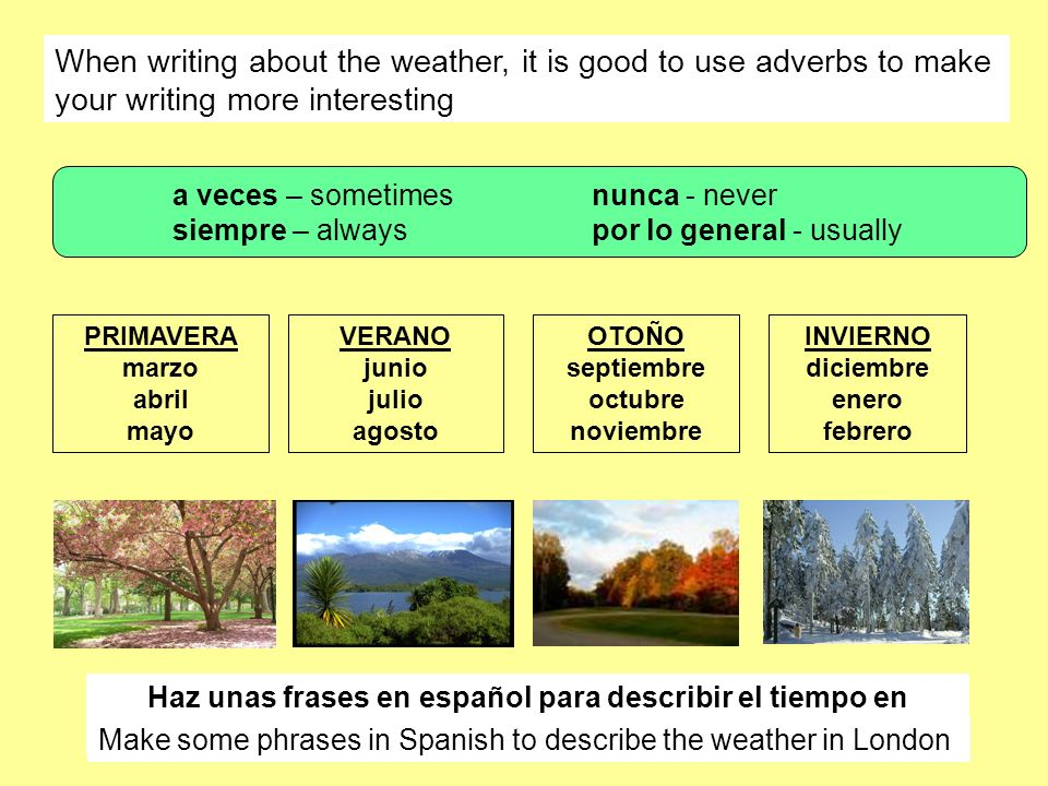 When writing about the weather, it is good to use adverbs to make your writing more interesting VERANO junio julio agosto PRIMAVERA marzo abril mayo O
