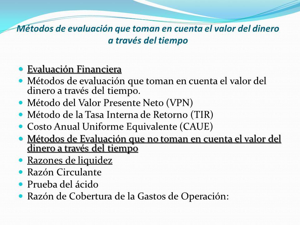 Métodos de evaluación que toman en cuenta el valor del dinero a través del tiempo Evaluación Financiera Evaluación Financiera Métodos de evaluación qu