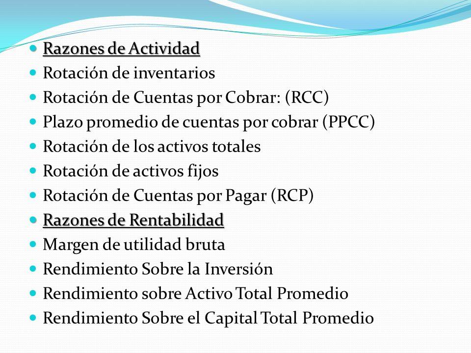 Razones de Actividad Razones de Actividad Rotación de inventarios Rotación de Cuentas por Cobrar: (RCC) Plazo promedio de cuentas por cobrar (PPCC) Ro