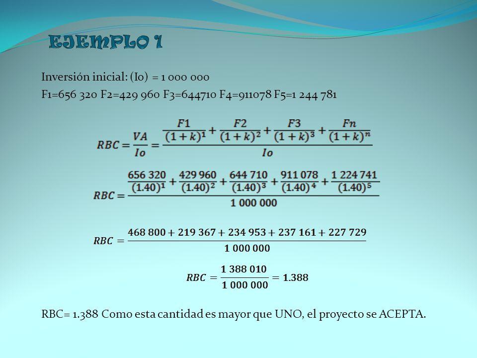 Inversión inicial: (Io) = 1 000 000 F1=656 320 F2=429 960 F3=644710 F4=911078 F5=1 244 781 RBC= 1.388 Como esta cantidad es mayor que UNO, el proyecto