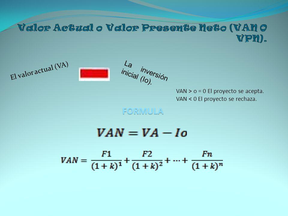 El valor actual (VA) FORMULA VAN > o = 0 El proyecto se acepta. VAN < 0 El proyecto se rechaza. La inversión inicial (Io).