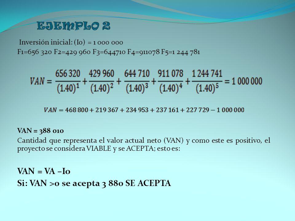 Inversión inicial: (Io) = 1 000 000 F1=656 320 F2=429 960 F3=644710 F4=911078 F5=1 244 781 VAN = 388 010 Cantidad que representa el valor actual neto