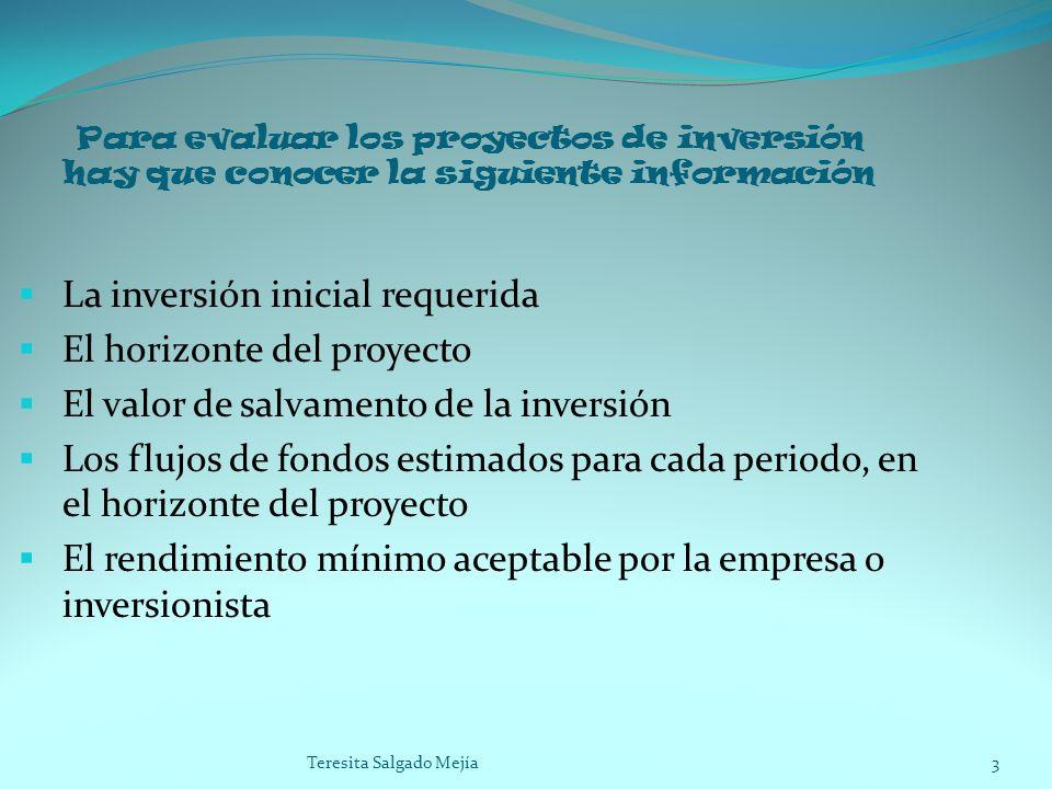 Para evaluar los proyectos de inversión hay que conocer la siguiente información La inversión inicial requerida El horizonte del proyecto El valor de