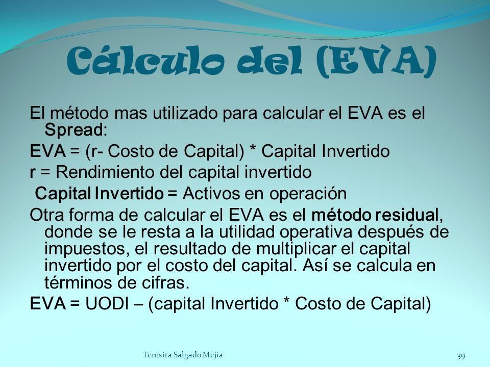 Cálculo del (EVA) El método mas utilizado para calcular el EVA es el Spread: EVA = (r- Costo de Capital) * Capital Invertido r = Rendimiento del capit