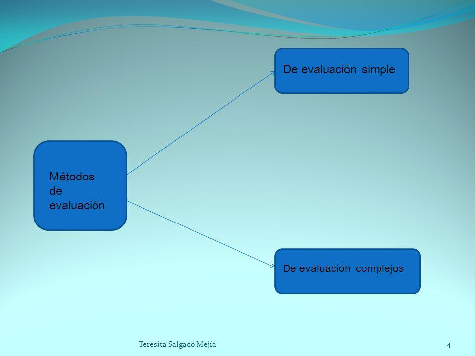 Métodos de evaluación De evaluación simple De evaluación complejos 4Teresita Salgado Mejía
