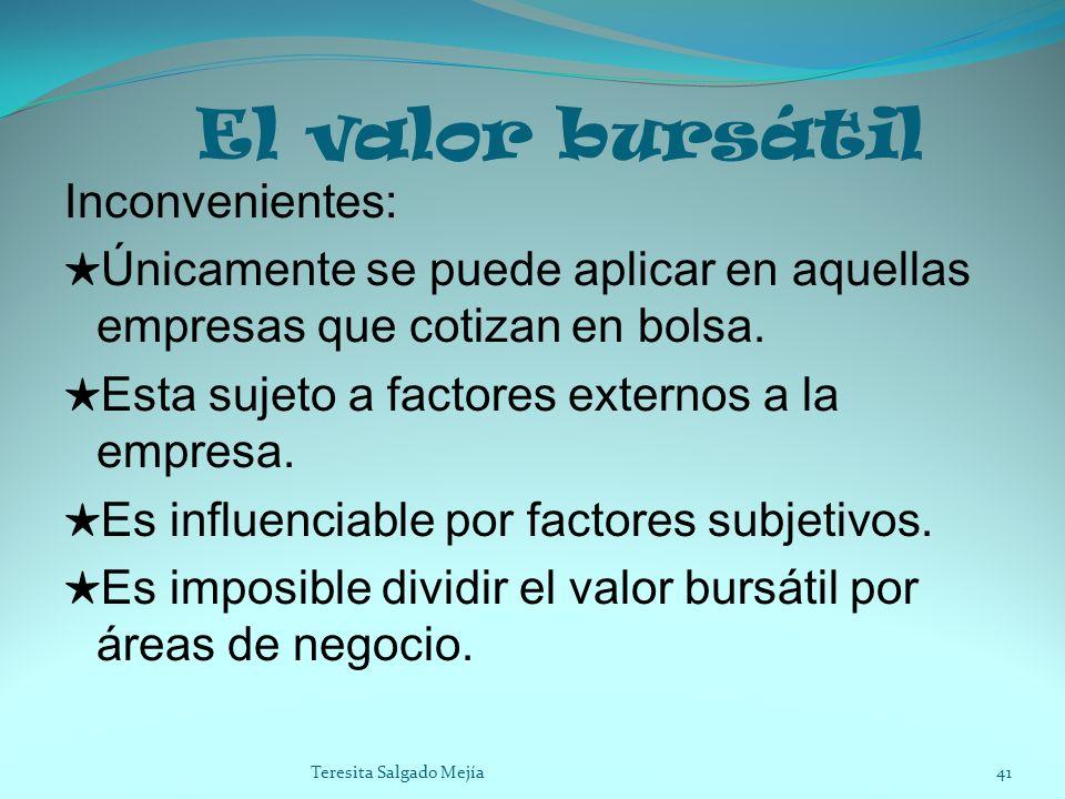 El valor bursátil Inconvenientes: Únicamente se puede aplicar en aquellas empresas que cotizan en bolsa. Esta sujeto a factores externos a la empresa.