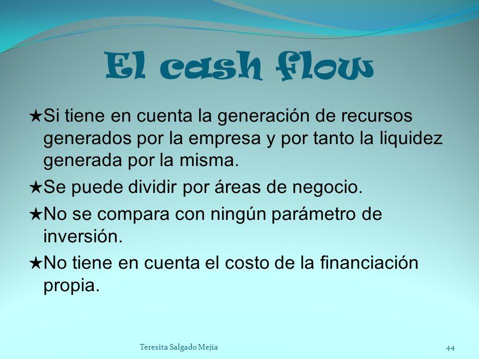 El cash flow Si tiene en cuenta la generación de recursos generados por la empresa y por tanto la liquidez generada por la misma. Se puede dividir por
