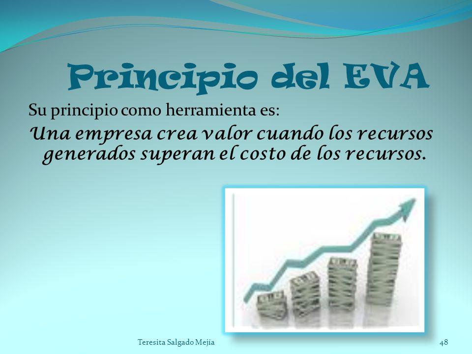 Principio del EVA Su principio como herramienta es: Una empresa crea valor cuando los recursos generados superan el costo de los recursos. 48Teresita