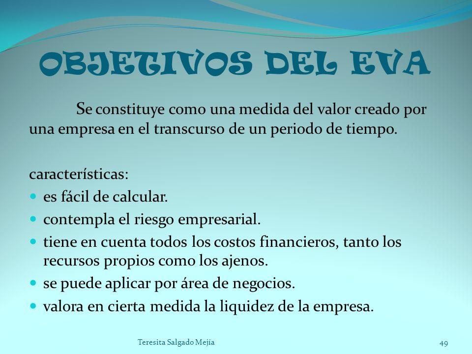 OBJETIVOS DEL EVA S e constituye como una medida del valor creado por una empresa en el transcurso de un periodo de tiempo. características: es fácil