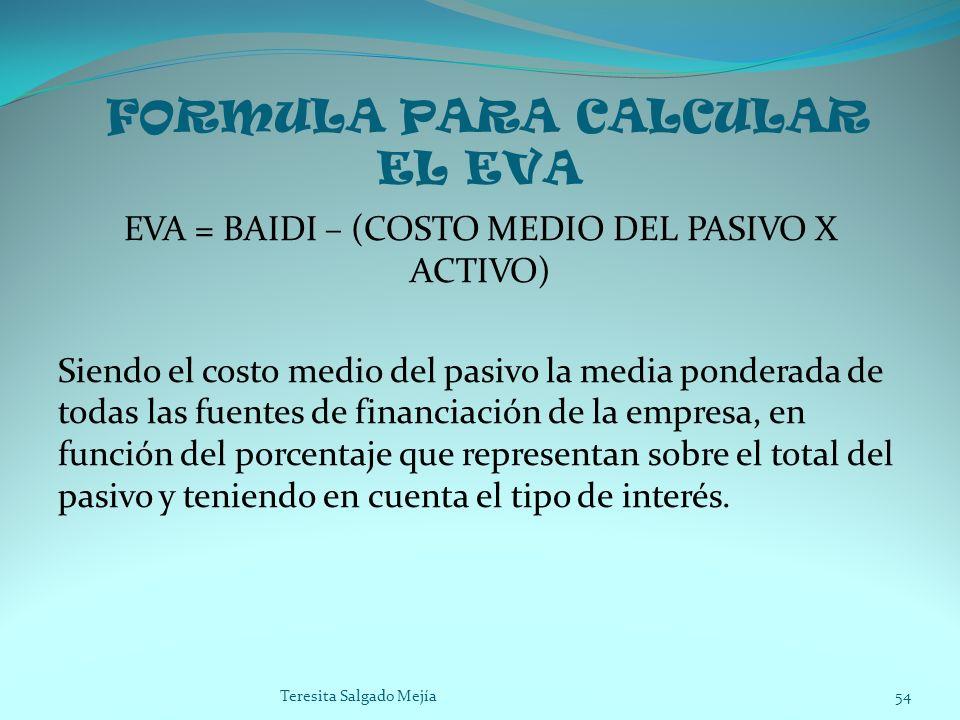 FORMULA PARA CALCULAR EL EVA EVA = BAIDI – (COSTO MEDIO DEL PASIVO X ACTIVO) Siendo el costo medio del pasivo la media ponderada de todas las fuentes