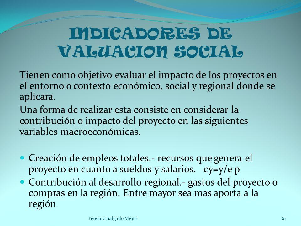 INDICADORES DE VALUACION SOCIAL Tienen como objetivo evaluar el impacto de los proyectos en el entorno o contexto económico, social y regional donde s