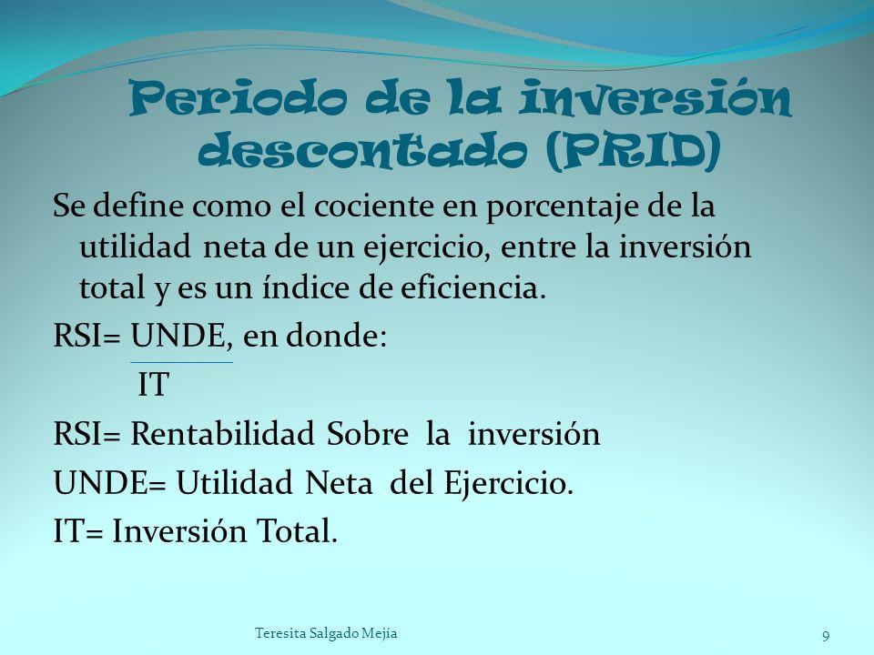 Periodo de la inversión descontado (PRID) Se define como el cociente en porcentaje de la utilidad neta de un ejercicio, entre la inversión total y es