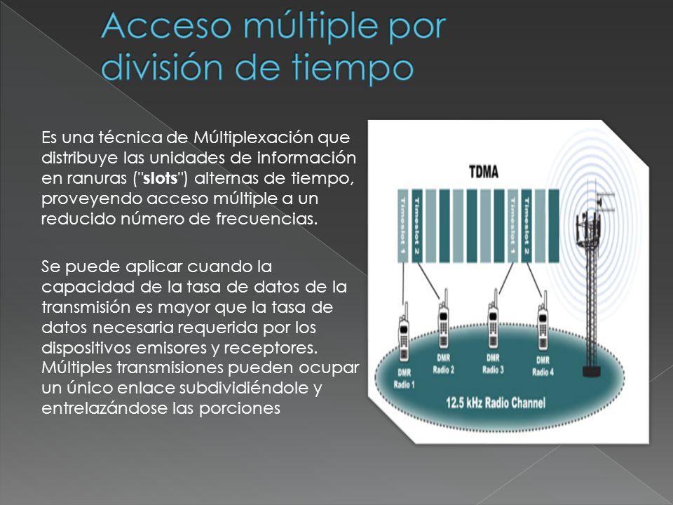 Es una técnica de Múltiplexación que distribuye las unidades de información en ranuras ( slots ) alternas de tiempo, proveyendo acceso múltiple a un reducido número de frecuencias.