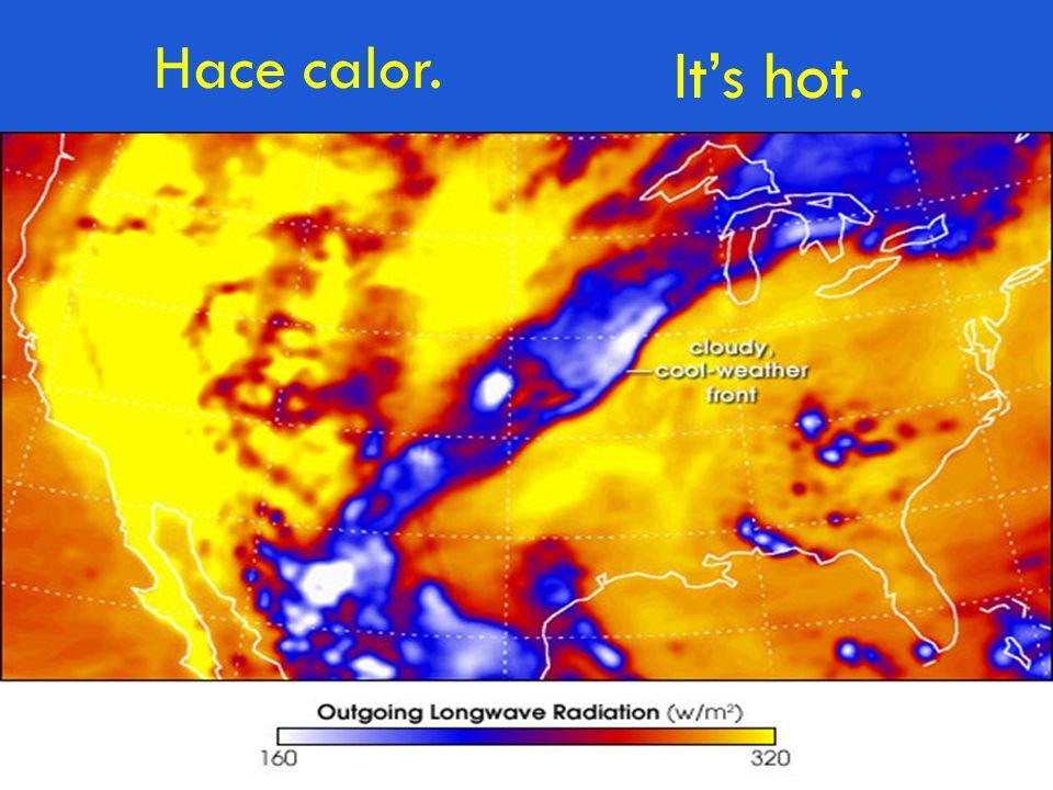 Hace calor. Its hot.