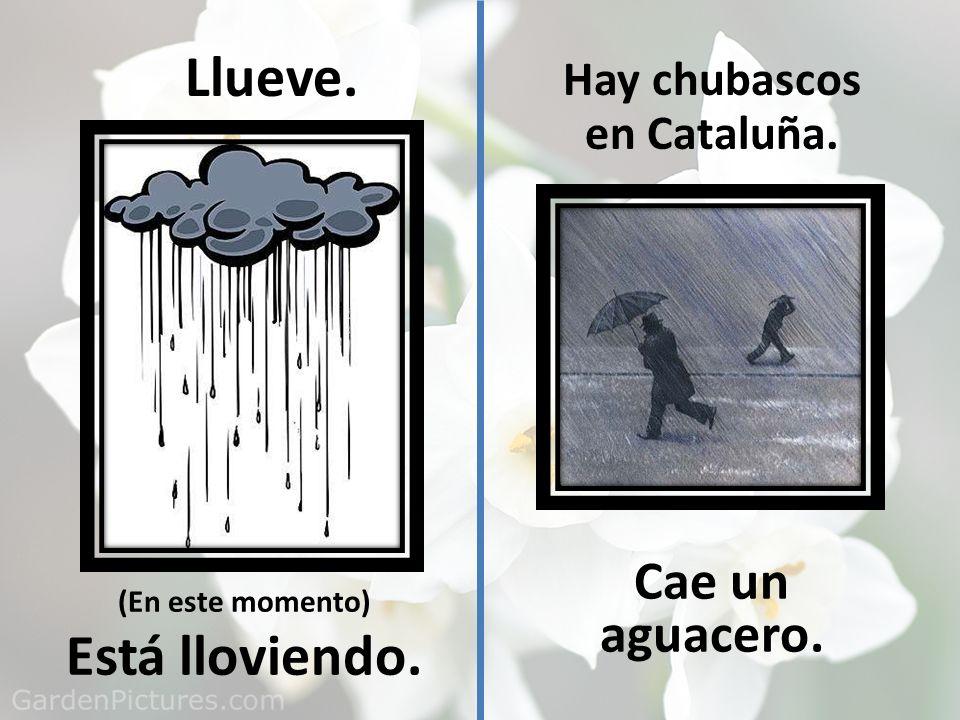 Llueve. (En este momento) Está lloviendo. Hay chubascos en Cataluña. Cae un aguacero.