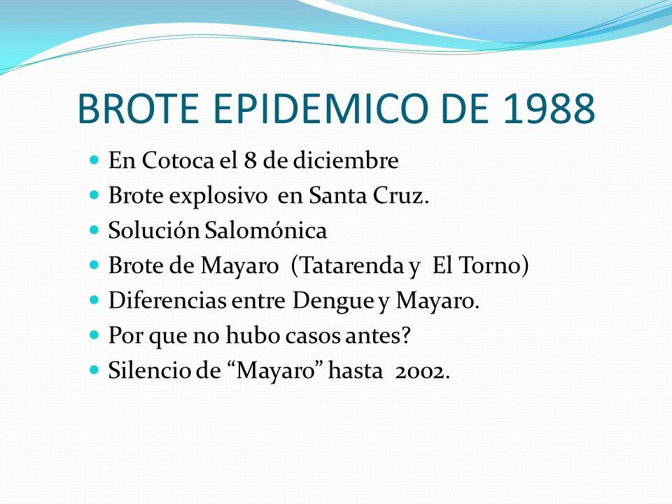 BROTE EPIDEMICO DE 1988 En Cotoca el 8 de diciembre Brote explosivo en Santa Cruz. Solución Salomónica Brote de Mayaro (Tatarenda y El Torno) Diferenc
