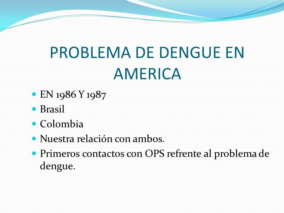 PROBLEMA DE DENGUE EN AMERICA EN 1986 Y 1987 Brasil Colombia Nuestra relación con ambos. Primeros contactos con OPS refrente al problema de dengue.
