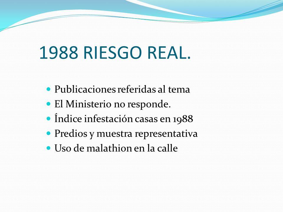 1988 RIESGO REAL. Publicaciones referidas al tema El Ministerio no responde. Índice infestación casas en 1988 Predios y muestra representativa Uso de