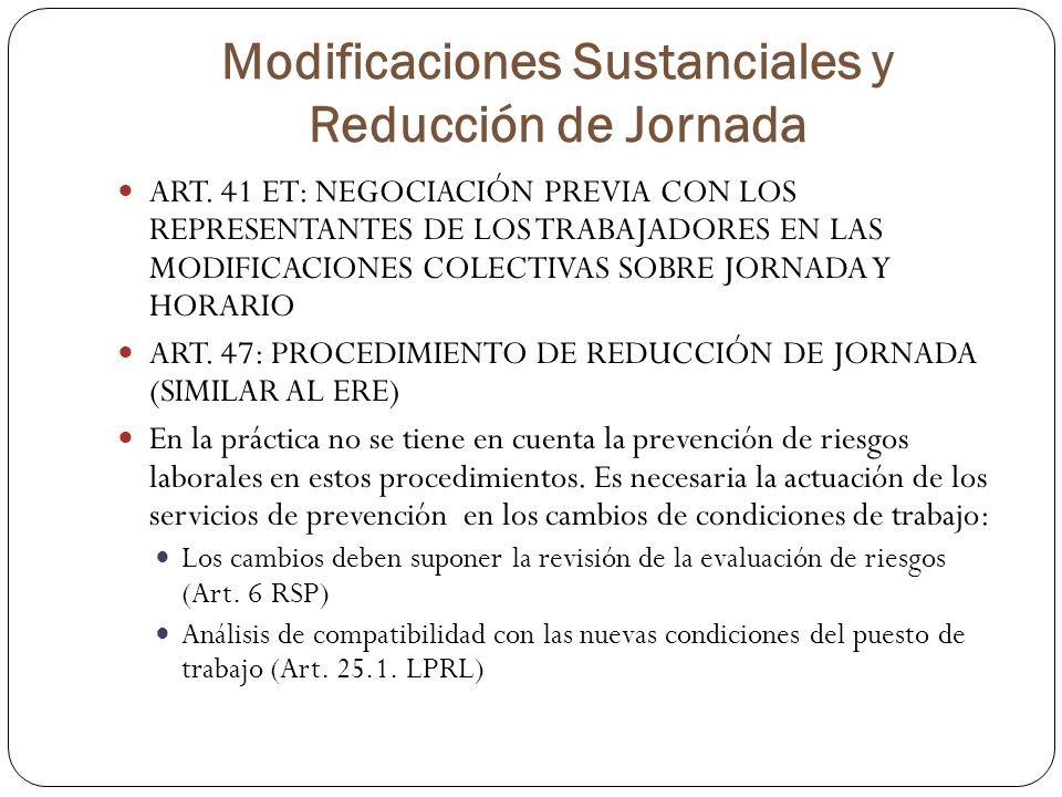 Modificaciones Sustanciales y Reducción de Jornada ART. 41 ET: NEGOCIACIÓN PREVIA CON LOS REPRESENTANTES DE LOS TRABAJADORES EN LAS MODIFICACIONES COL