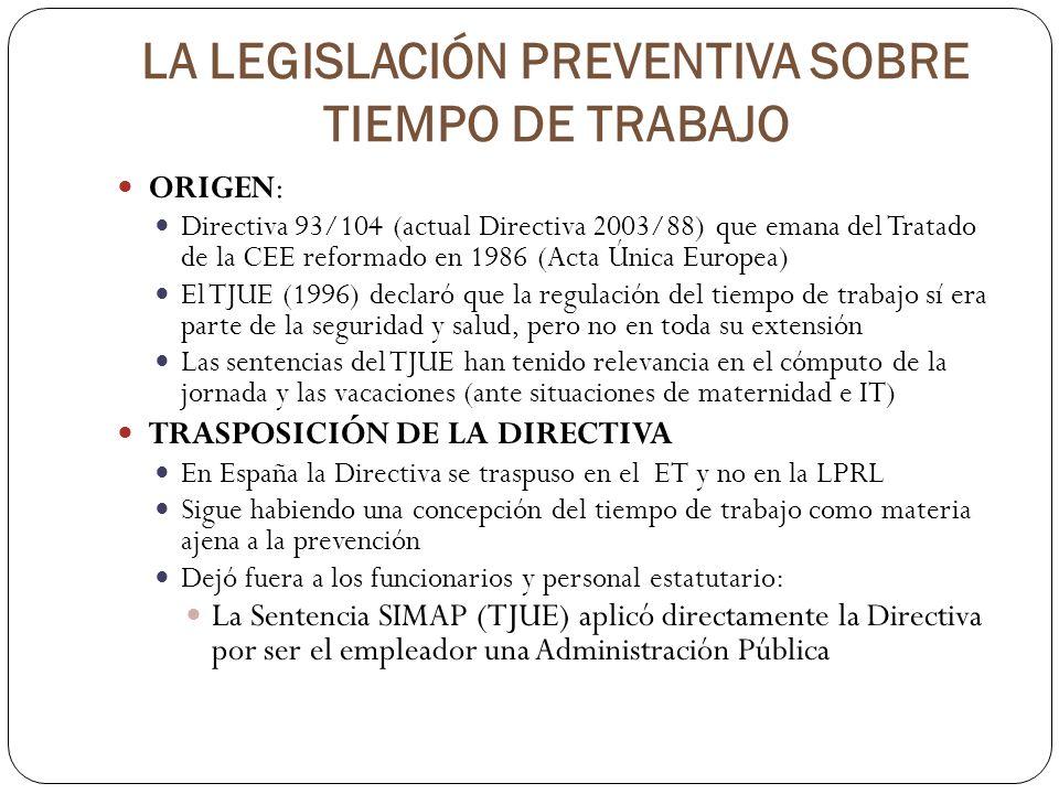 LA LEGISLACIÓN PREVENTIVA SOBRE TIEMPO DE TRABAJO ORIGEN: Directiva 93/104 (actual Directiva 2003/88) que emana del Tratado de la CEE reformado en 198