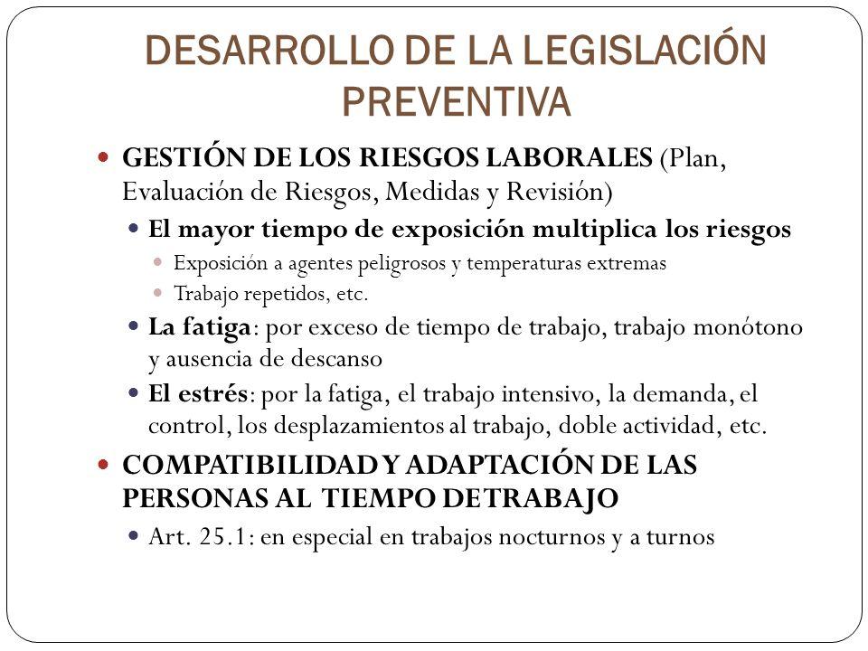 DESARROLLO DE LA LEGISLACIÓN PREVENTIVA GESTIÓN DE LOS RIESGOS LABORALES (Plan, Evaluación de Riesgos, Medidas y Revisión) El mayor tiempo de exposici