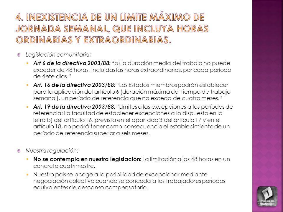 Legislación comunitaria: Art 6 de la directiva 2003/88: b) la duración media del trabajo no puede exceder de 48 horas, incluidas las horas extraordina