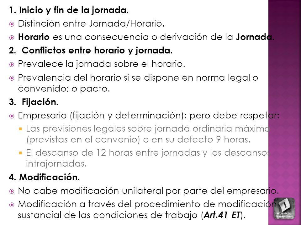 1.Inicio y fin de la jornada. Distinción entre Jornada/Horario.