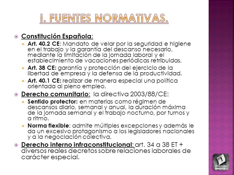 Constitución Española : Art. 40.2 CE : Mandato de velar por la seguridad e higiene en el trabajo y la garantía del descanso necesario, mediante la lim