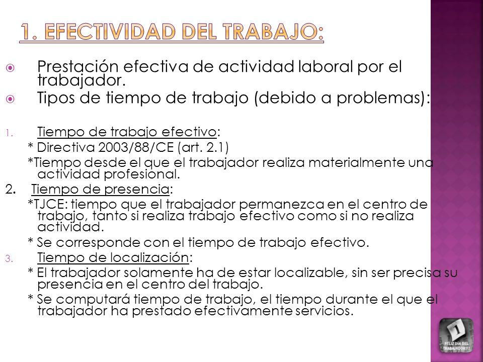 Prestación efectiva de actividad laboral por el trabajador. Tipos de tiempo de trabajo (debido a problemas): 1. Tiempo de trabajo efectivo: * Directiv