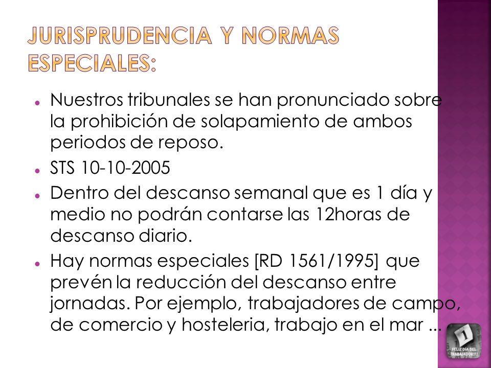 Nuestros tribunales se han pronunciado sobre la prohibición de solapamiento de ambos periodos de reposo. STS 10-10-2005 Dentro del descanso semanal qu