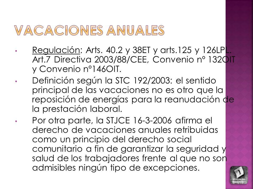 Regulación: Arts. 40.2 y 38ET y arts.125 y 126LPL. Art.7 Directiva 2003/88/CEE, Convenio nº 132OIT y Convenio nº146OIT. Definición según la STC 192/20