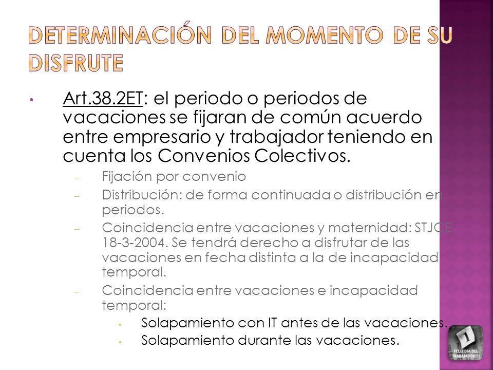 Art.38.2ET: el periodo o periodos de vacaciones se fijaran de común acuerdo entre empresario y trabajador teniendo en cuenta los Convenios Colectivos.