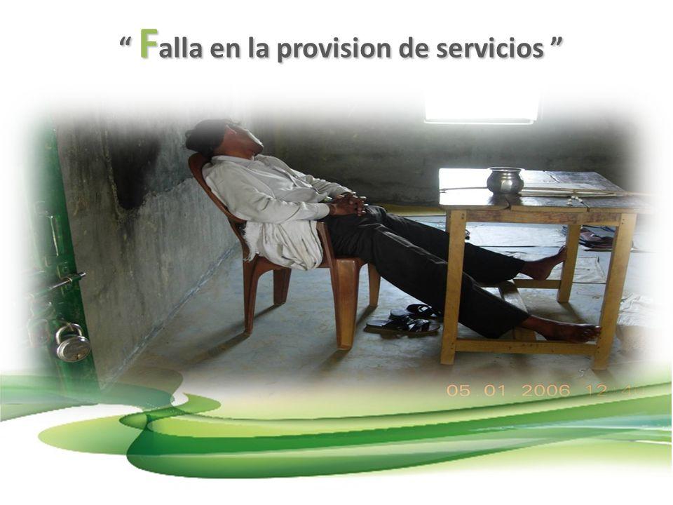 F alla en la provision de servicios F alla en la provision de servicios