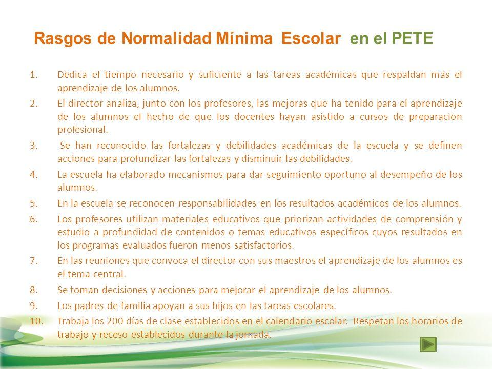 Rasgos de Normalidad Mínima Escolar en el PETE 1.Dedica el tiempo necesario y suficiente a las tareas académicas que respaldan más el aprendizaje de l