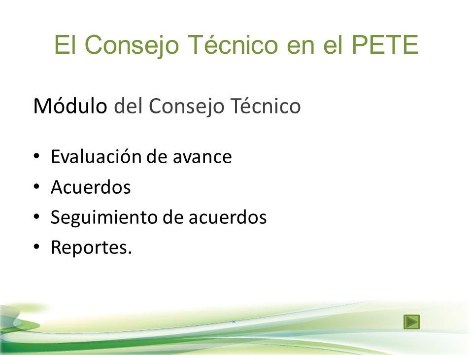 Módulo del Consejo Técnico Evaluación de avance Acuerdos Seguimiento de acuerdos Reportes. El Consejo Técnico en el PETE