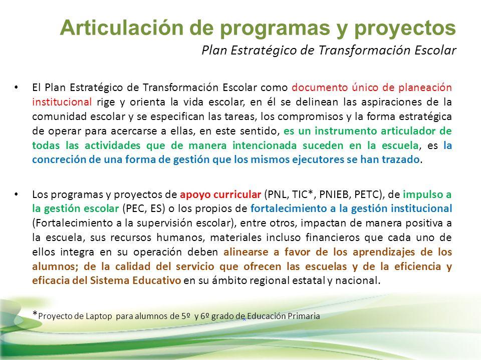 Articulación de programas y proyectos Plan Estratégico de Transformación Escolar El Plan Estratégico de Transformación Escolar como documento único de
