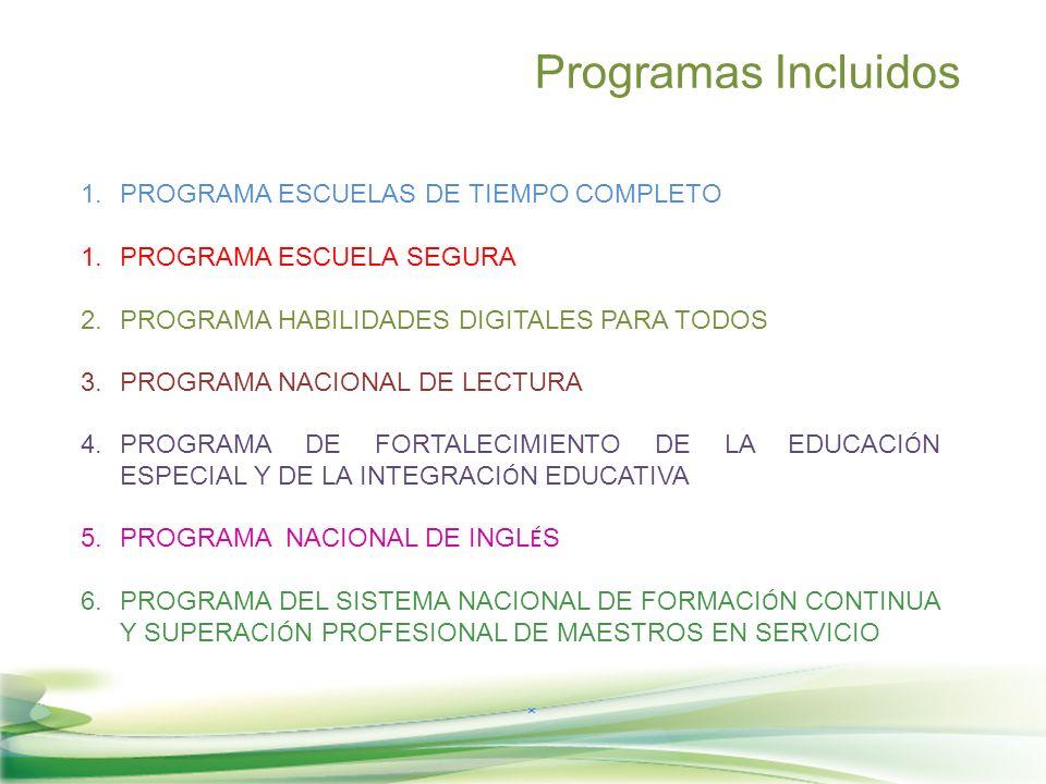 1.PROGRAMA ESCUELAS DE TIEMPO COMPLETO 1.PROGRAMA ESCUELA SEGURA 2.PROGRAMA HABILIDADES DIGITALES PARA TODOS 3.PROGRAMA NACIONAL DE LECTURA 4.PROGRAMA