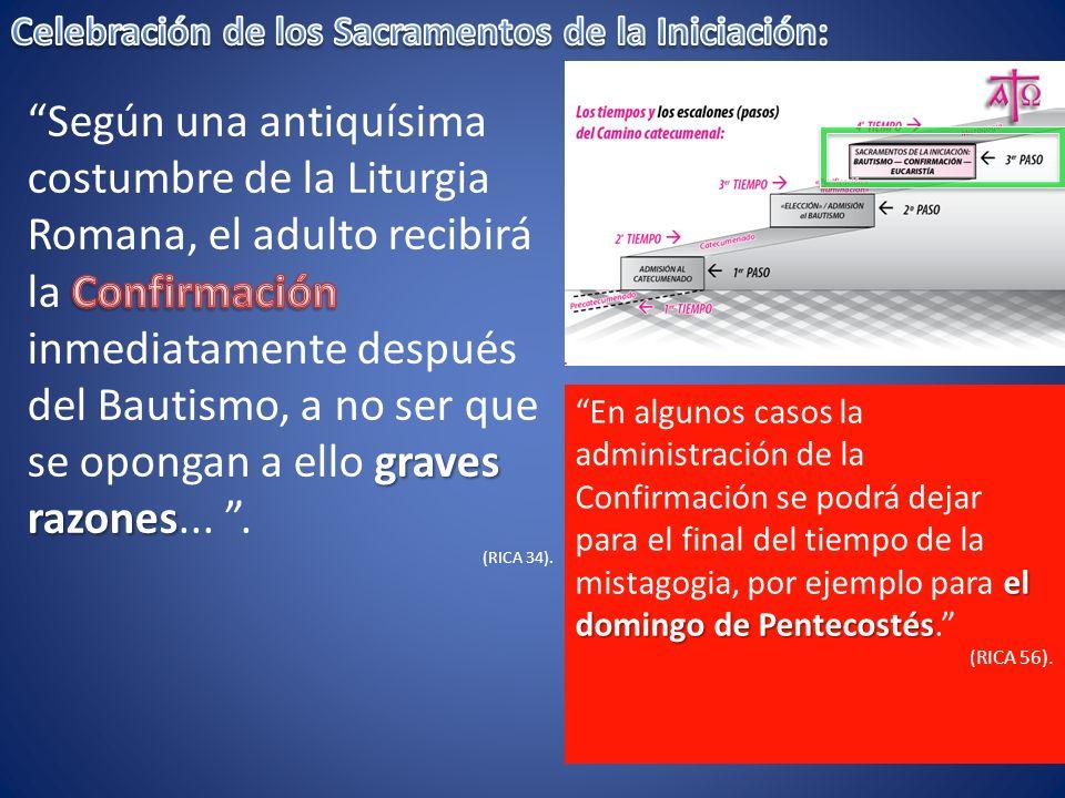 el domingo de Pentecostés En algunos casos la administración de la Confirmación se podrá dejar para el final del tiempo de la mistagogia, por ejemplo