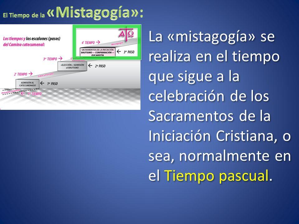 La «mistagogía» se realiza en el tiempo que sigue a la celebración de los Sacramentos de la Iniciación Cristiana, o sea, normalmente en el Tiempo pasc